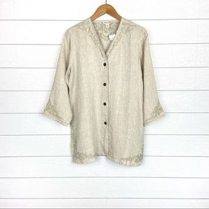 NWT Coldwater Creek Linen Embroidered Jacket Tan